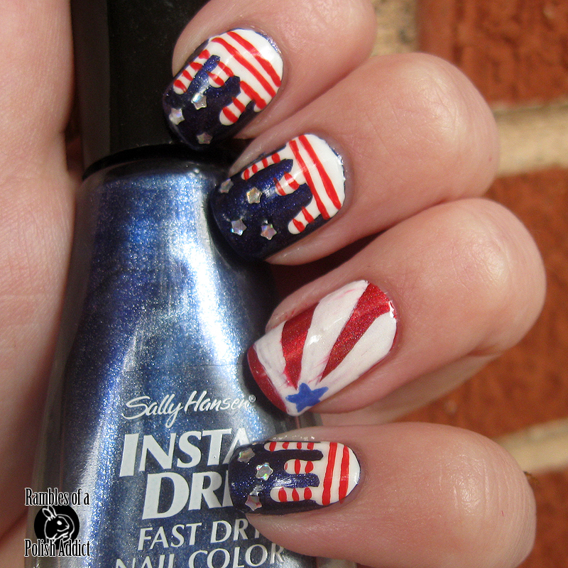 Stars and Stripes Drip Nails! | Rambles of a Polish Addict