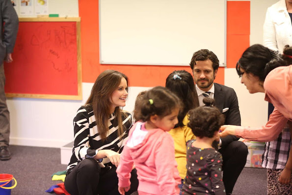 Princess Sofia And Prince Carl Philip Visited Unit For Refugees, Dalarna, Borlange, Sweden