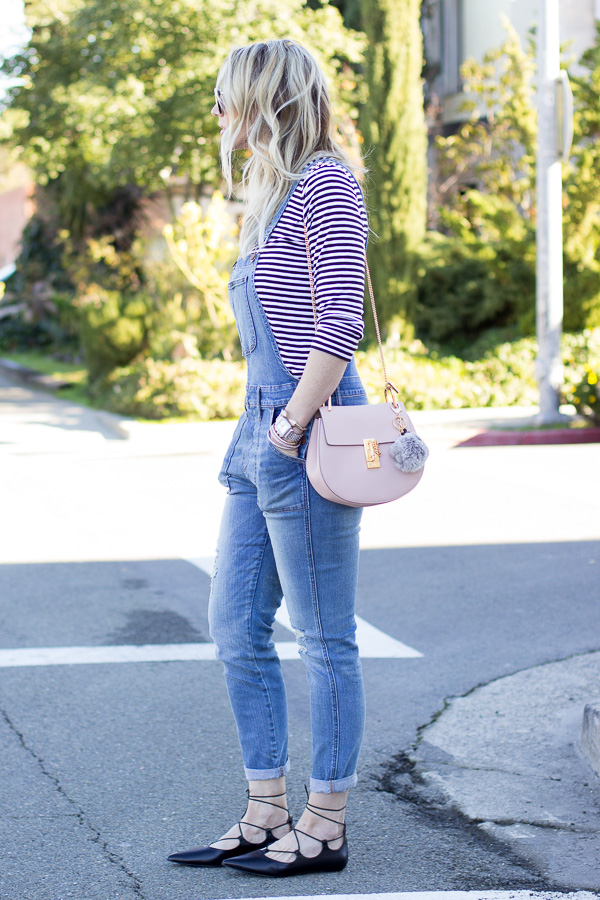 striped tee with overalls