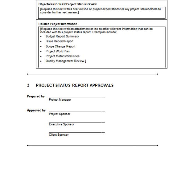 daily status report template .