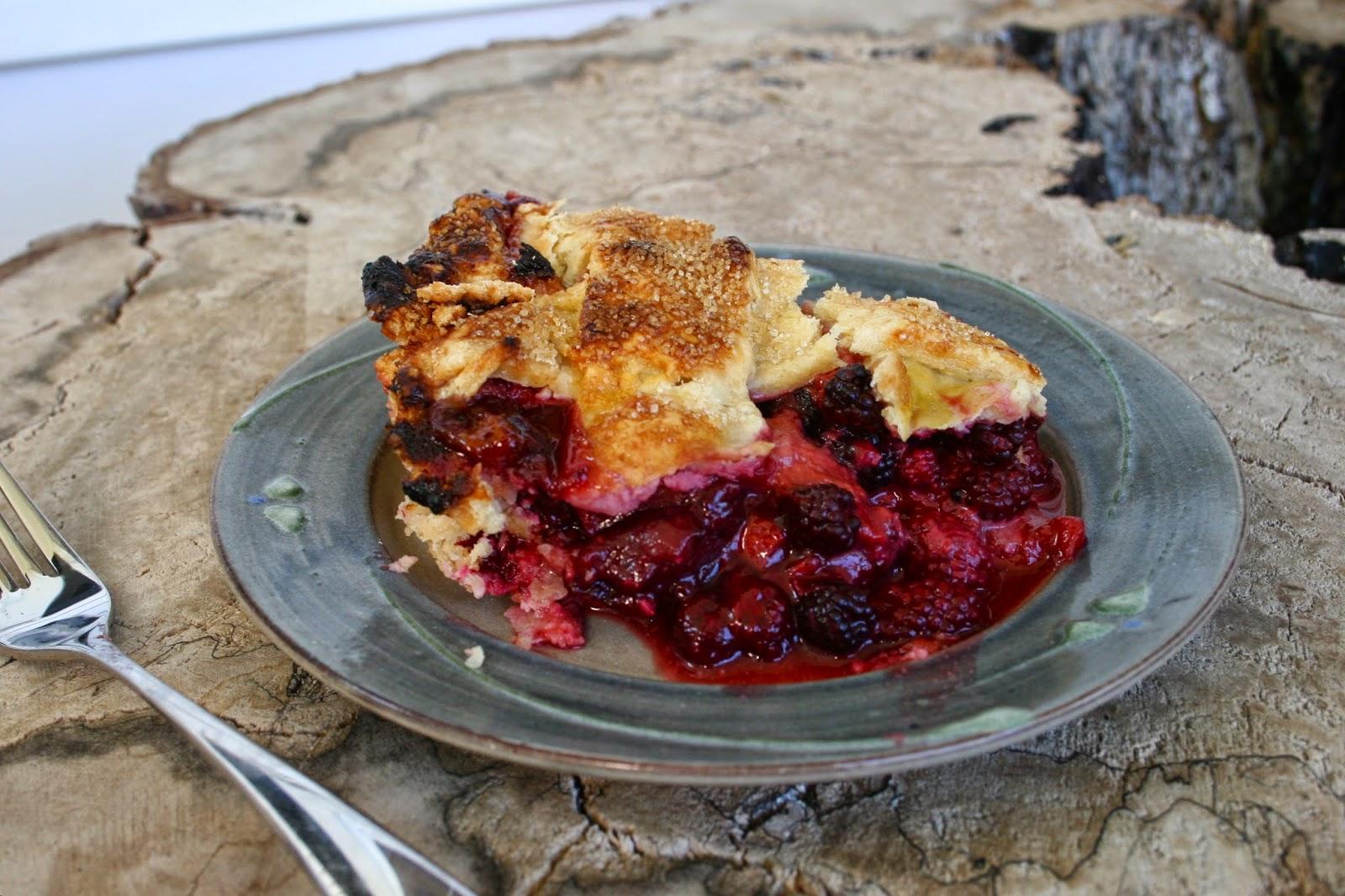 """Old Fashioned"" Peach Blackberry Pie slice"
