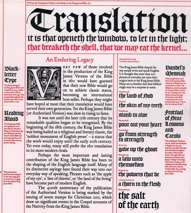 the importance of king james bible for english christians The king james version of the bible was the bible for english-speaking christians, as professor michael haykin describes it, from the date it was published 400 years ago -- on may 5, 1611 -- into the 1950s.