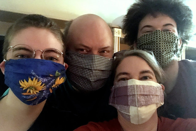 Sewing Face Masks For Covid. ~~ Linda and family.