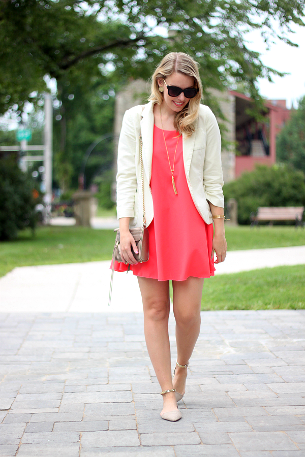 Coral Swing Dress with Bow Back