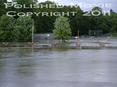 Picture of our local ball fields flooded by the river