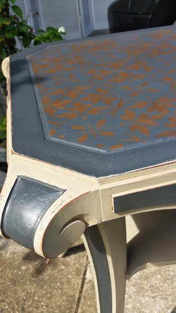 Detailed Stencil Design on Annie Sloan Painted Table