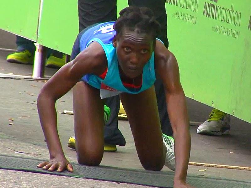 hyvon-ngetich-800 Freedom Friday - Kenyan Runner Crawls Across Austin Marathon Finish Line