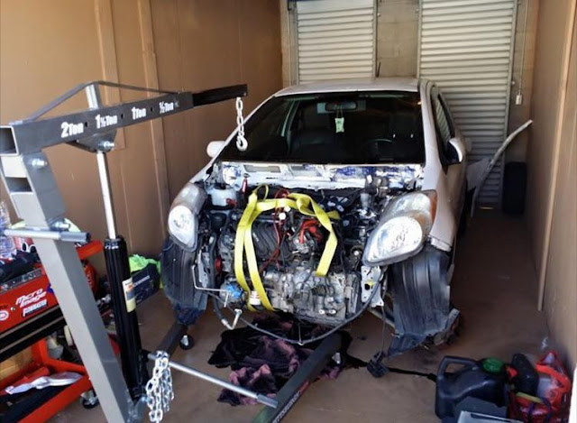 Installing new engine into Toyota Yaris