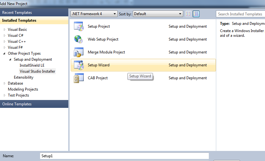 Add Setup Project in vs 2010