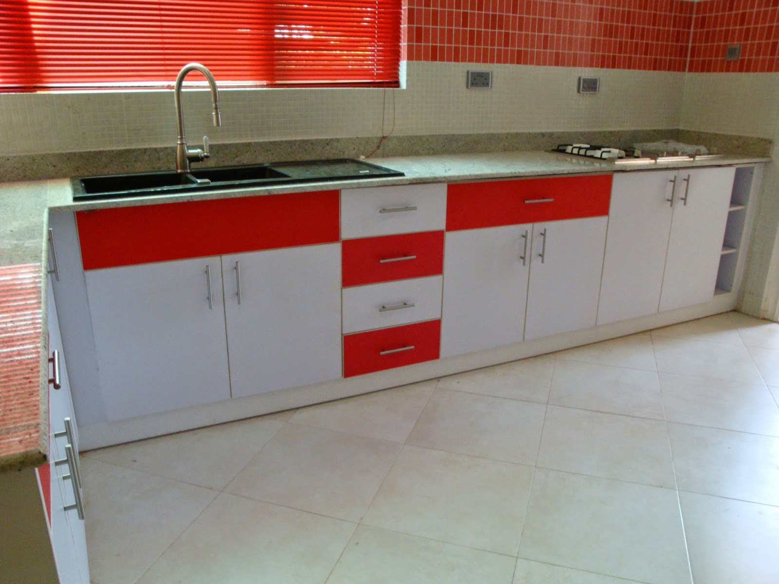 Kitchen Cabinets In White U0026 Red Laminate