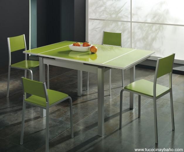 mesa cocina verde cristal precio