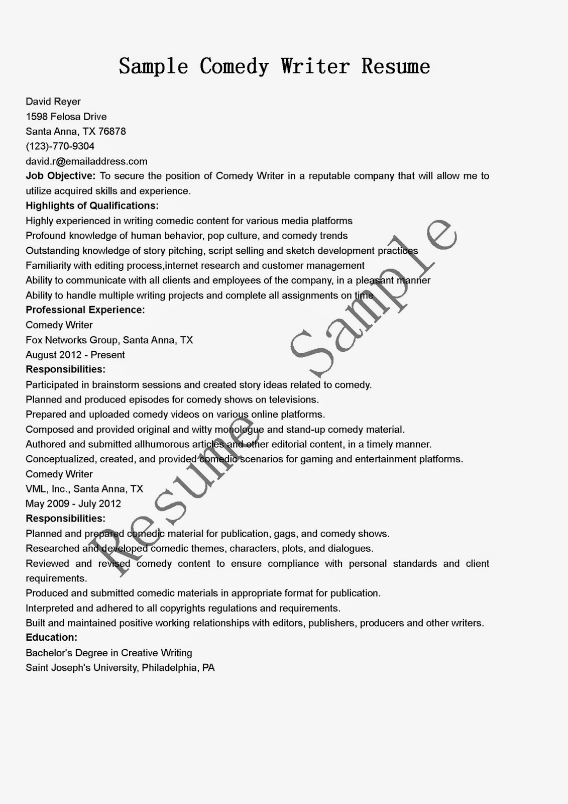 resume samples comedy writer resume sample