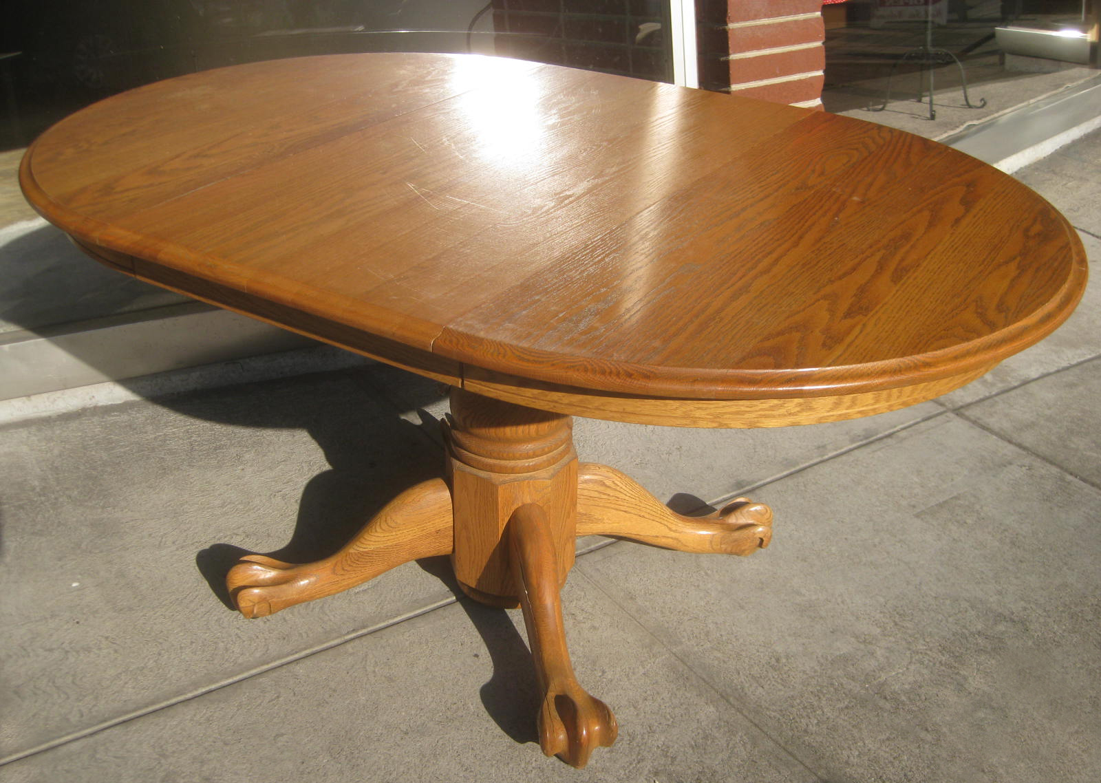 Merveilleux SOLD   Oak Clawfoot Table With One Leaf   $90