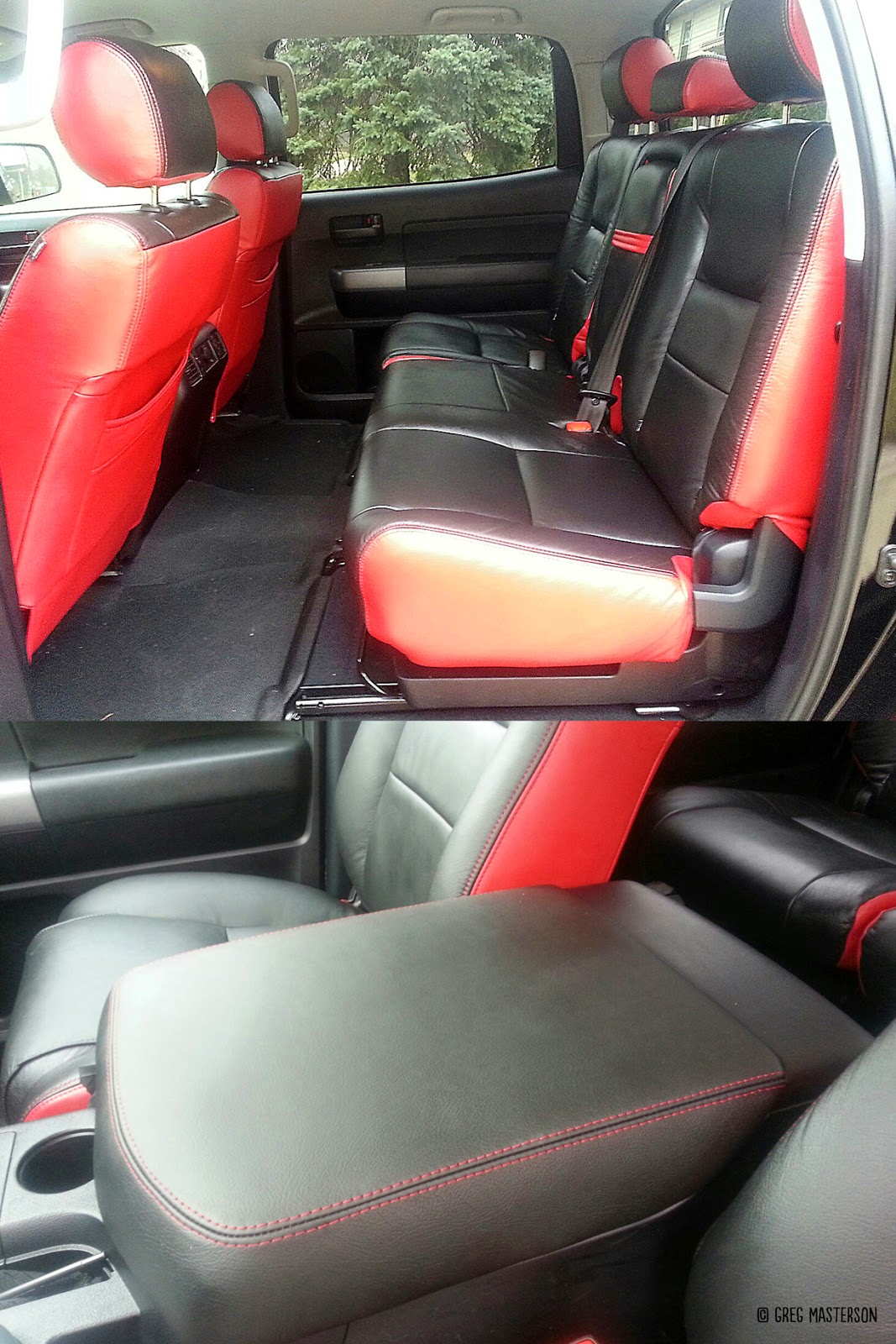 Red and black interior of Toyota Tundra