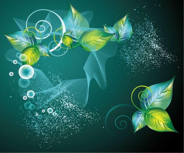 Free Abstract Green Floral Vector Background