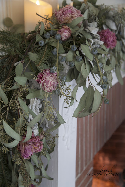 Dried peonies and eucalyptus garland