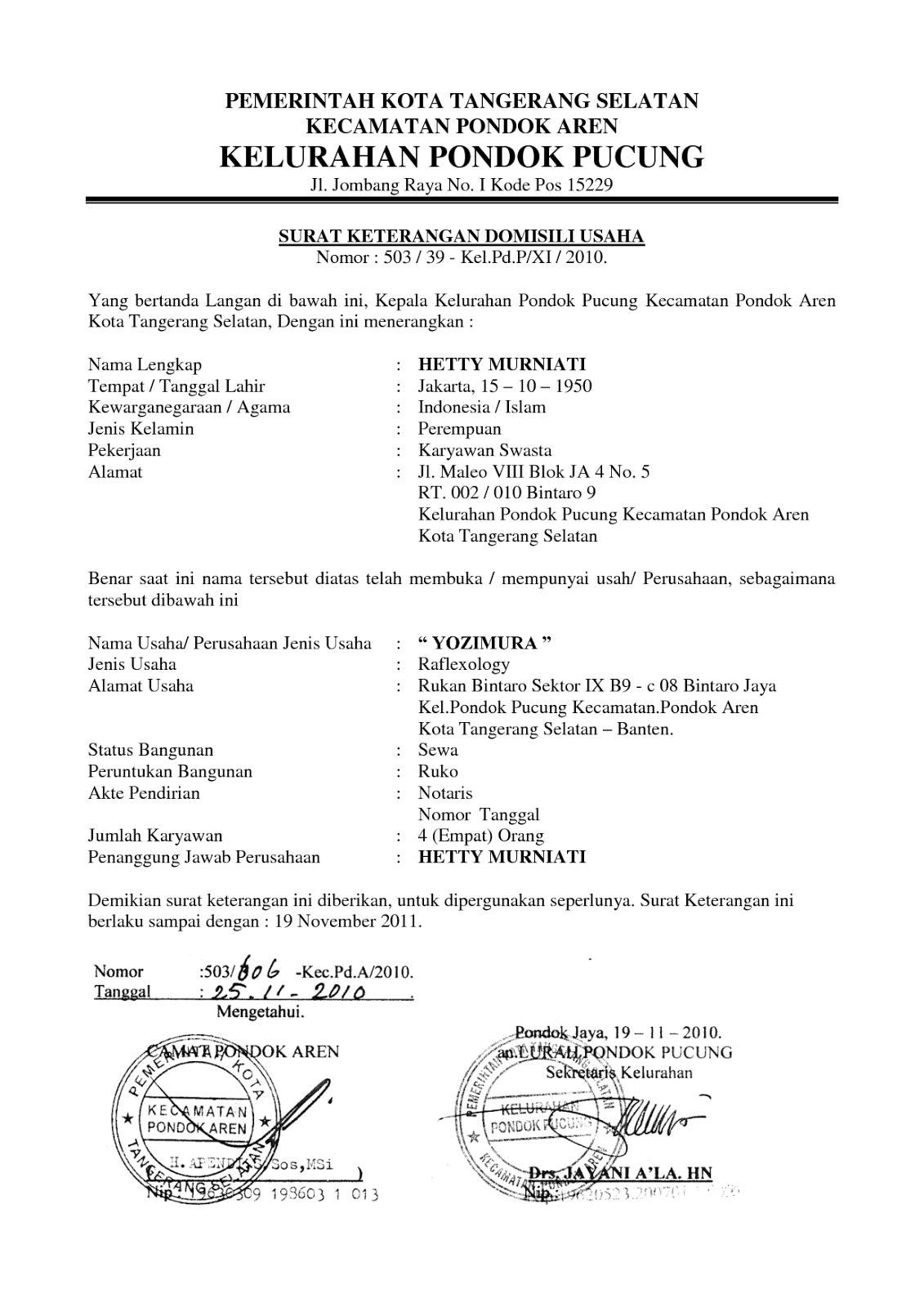 Surat Keterangan Domisili Usaha Skdu Yogos Shelter