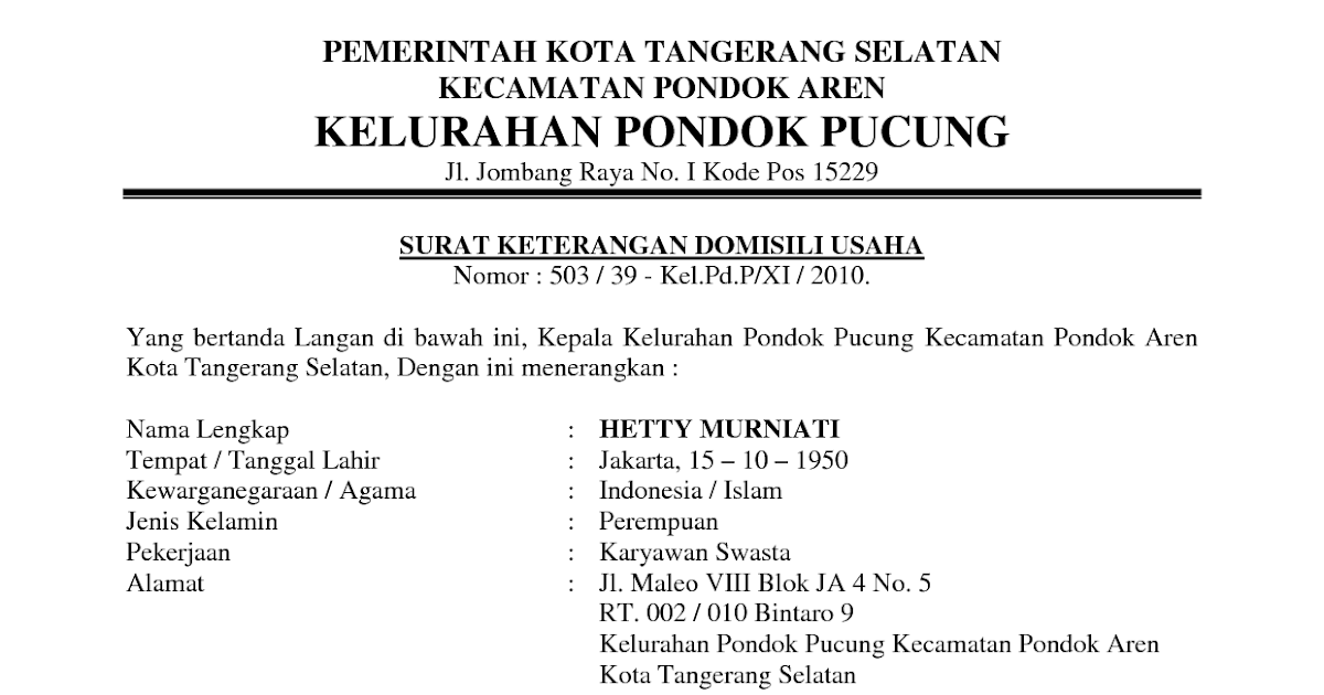 Contoh Surat Izin Domisili Perusahaan Surat 28