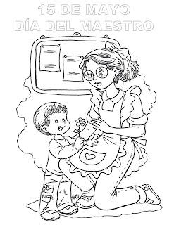 Dibujo para colorear del día del maestro 15 de mayo