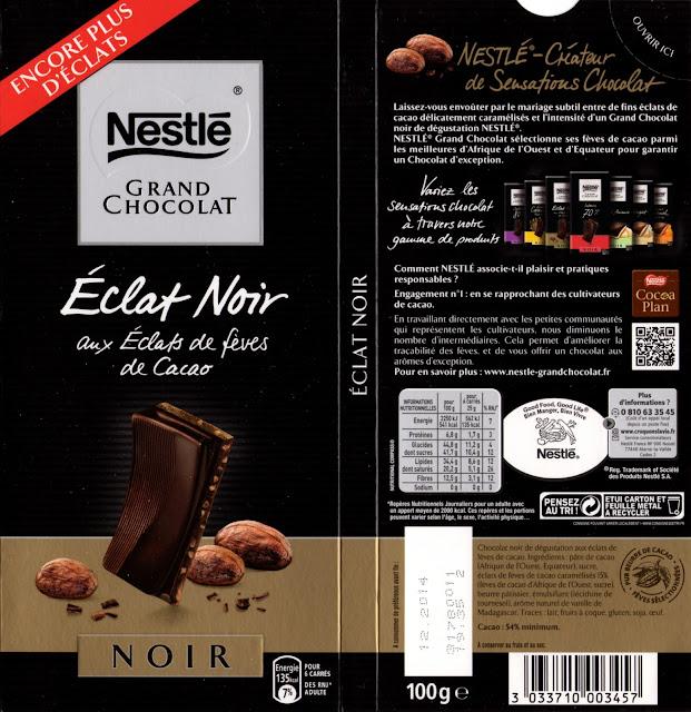 tablette de chocolat noir gourmand nestlé grand chocolat eclat noir aux eclats de fèves de cacao