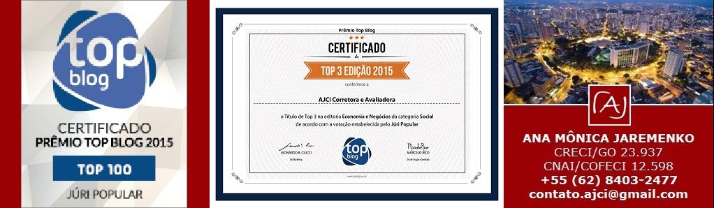 3º Lugar - Prêmio Top Blog 2015 Juri Popular Categoria Social Facebook Editoria Economia e Negócio