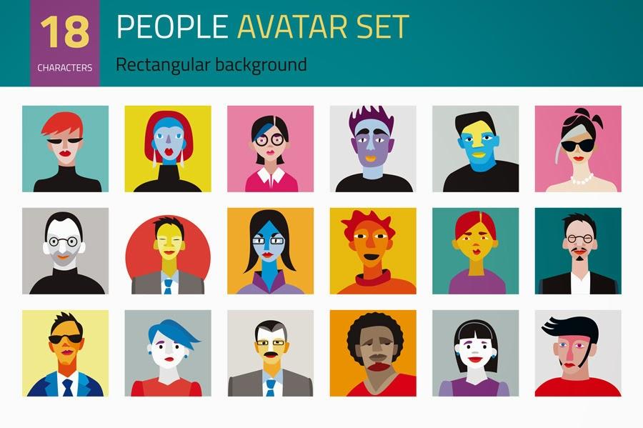 https://creativemarket.com/Jesussanz/1510-People-Avatar-Set
