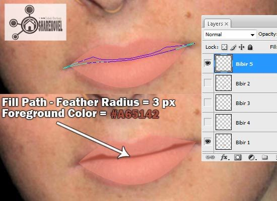 cara membuat kartun vector bibir di photoshop - tutorial membuat vector di photoshop - membuat foto menjadi kartun dengan photoshop