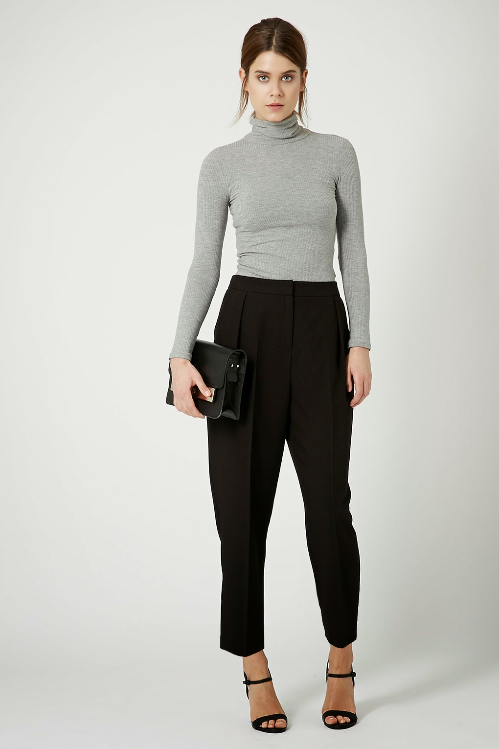 topshop black cropped trousers