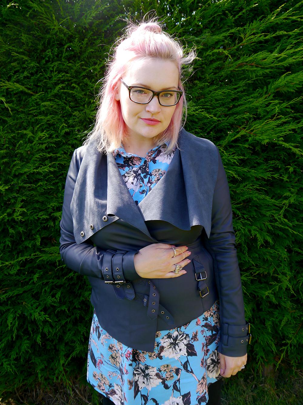 Scot Street Style, biker jacket, Scottish Blogger, pink hair, how to, glasses, Dundee, Wardrobe Conversations, Hawaiian shirt dress