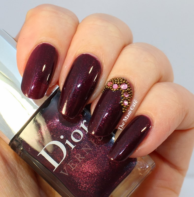Dark Red Nail Polish With Glitter