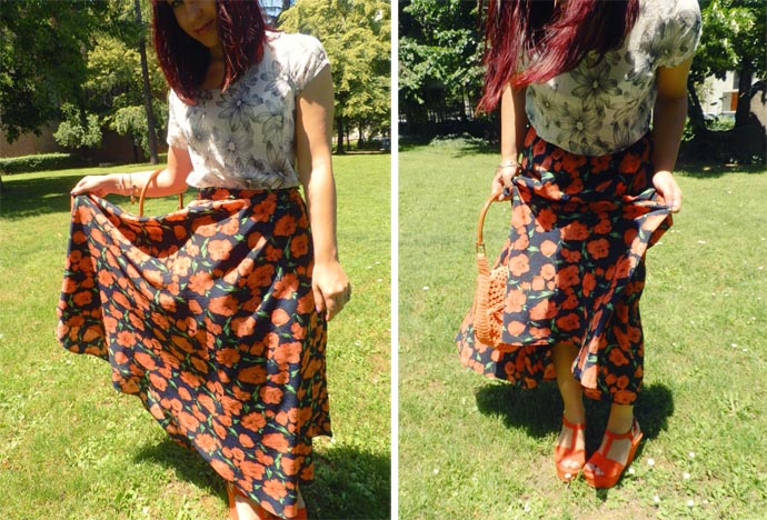 Outfit I wore: My favorite floral printed maxi skirt made by me styled with a white floral top made by my mom, an orange hand knitted purse made by my mom and orange wedges from Zara
