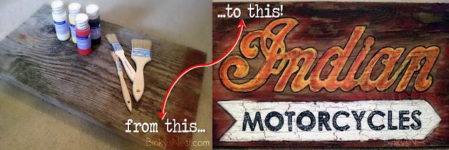 BinkysNest.com Handpainted Vintage Indian Motorcycle Sign