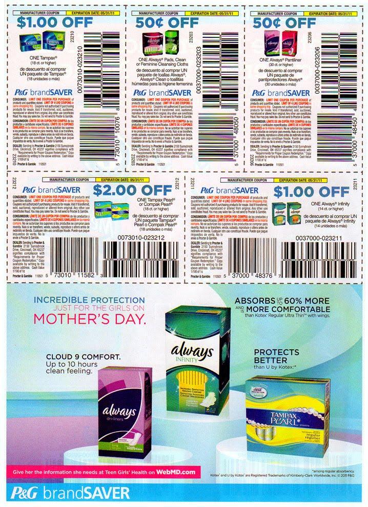 Tampax pads coupons