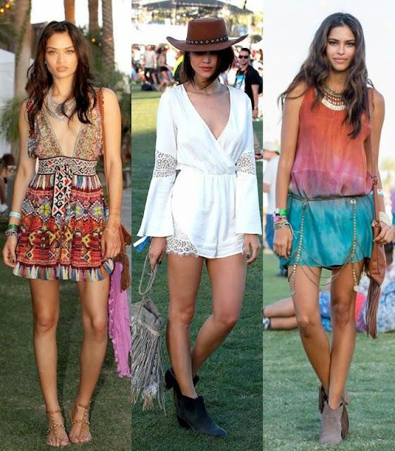 Moda a usar em festivais de verão - vestidos curtos  estilo boémio e hippie rocker