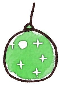 クリスマスの玉飾りのイラスト 緑