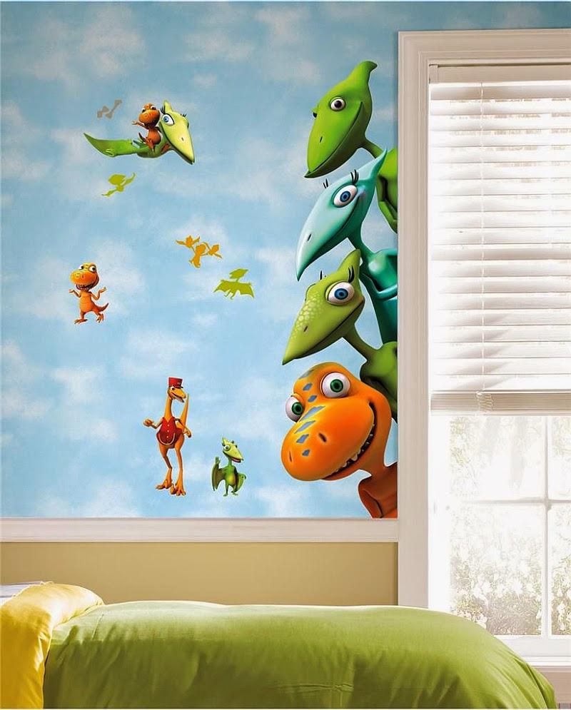 Dormitorio de Nios decorado con Dinosaurios Arte en las Paredes y