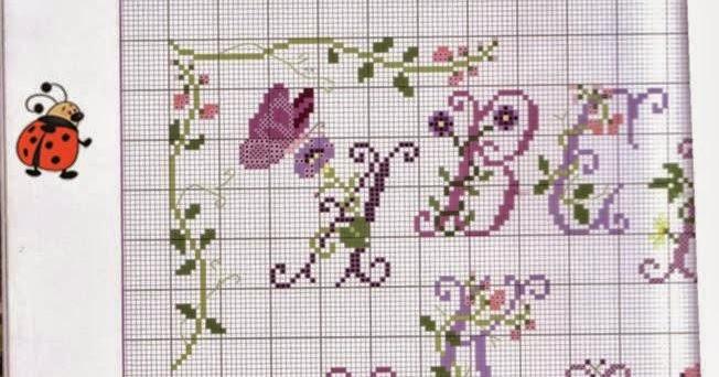 Ricami e schemi a punto croce gratuiti schema alfabeto for Schemi punto croce fiori e farfalle