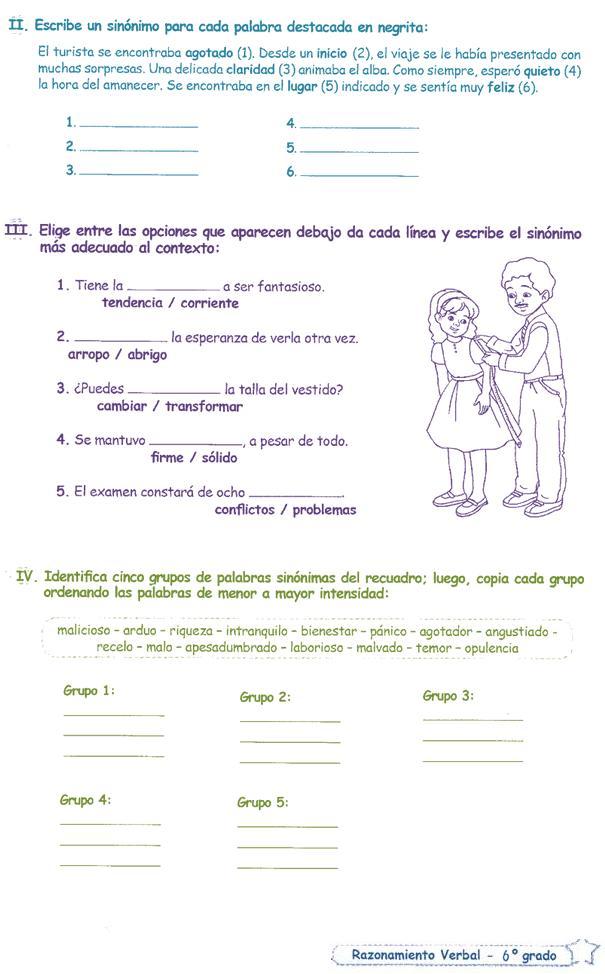 Sinónimos para Niños 6º primaria | Razonamiento Verbal - photo#36