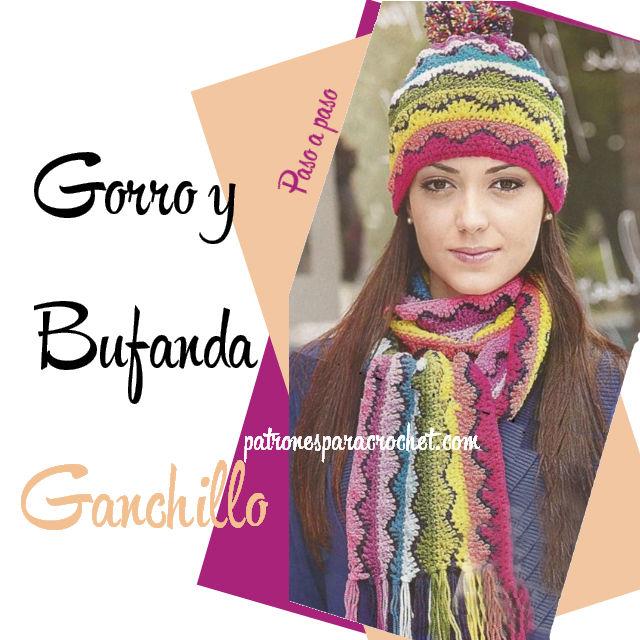 Gorro y bufanda arco iris ganchillo / Paso a paso | Patrones para ...
