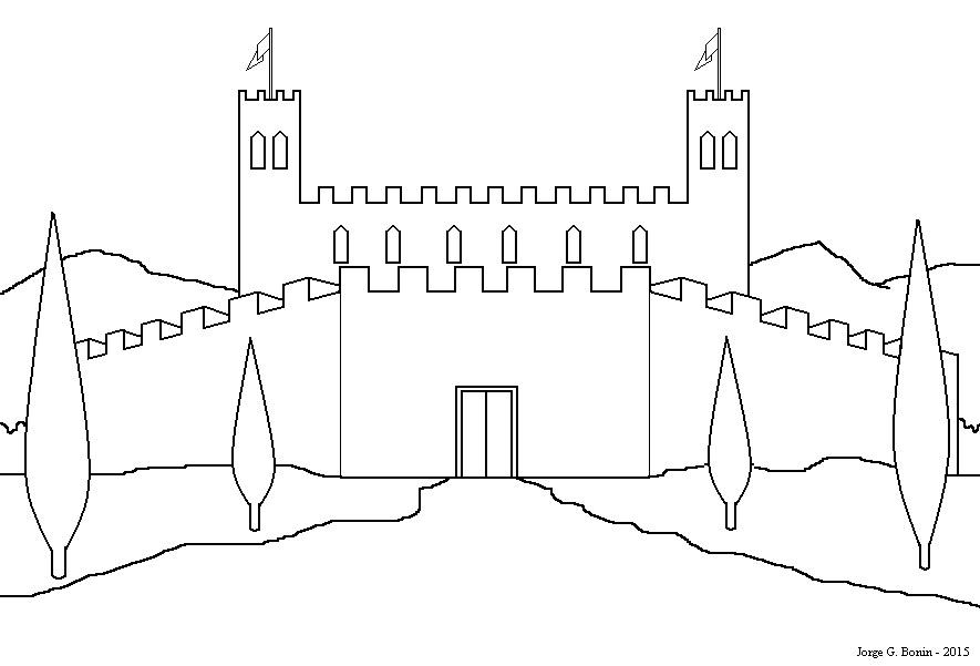 arte no paint desenho para colorir castelo medieval
