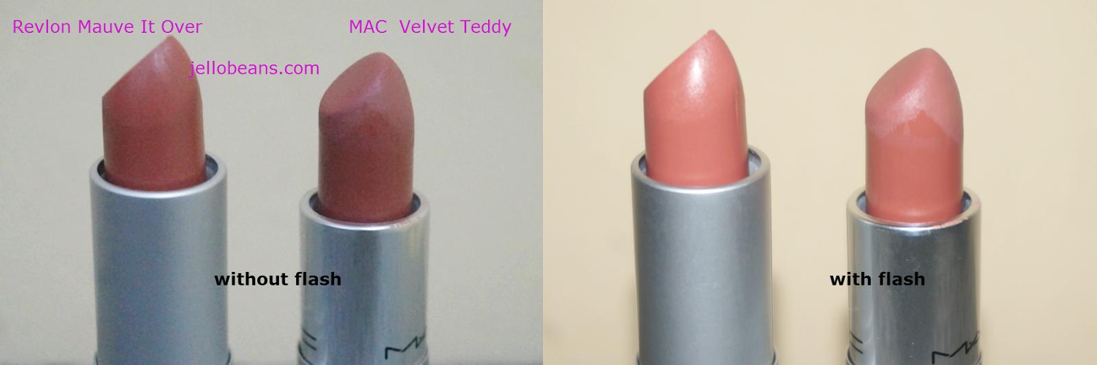 Lipstick Dupe Alert  MAC Velvet Teddy vs Revlon Matte in Mauve It OverMac Velvet Teddy