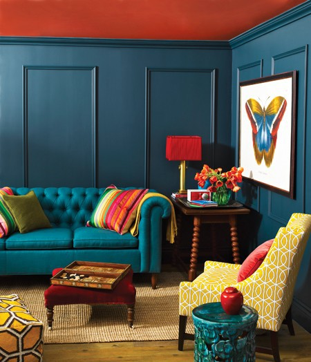 Peacock on pinterest peacock blue blue sofas and peacocks for Colorful living room ideas pinterest