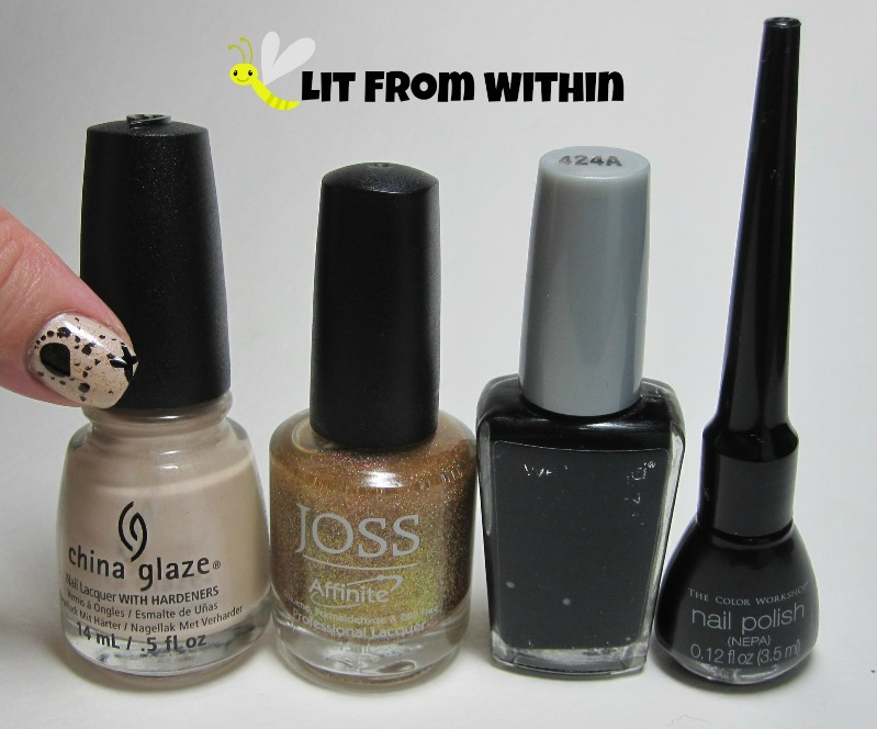 Bottle shot:  China Glaze Don't Honk Your Thorn, Joss Desert Sunset, Wet 'n Wild Black Creme, and a black striper