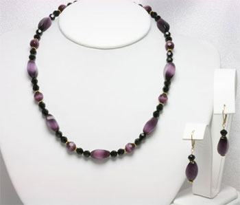Amethyst Twist Black Crystal Choker Necklace Set (NES1)