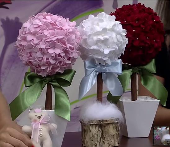 rosa e fl r artesanato topiaria de flores de feltro v deo