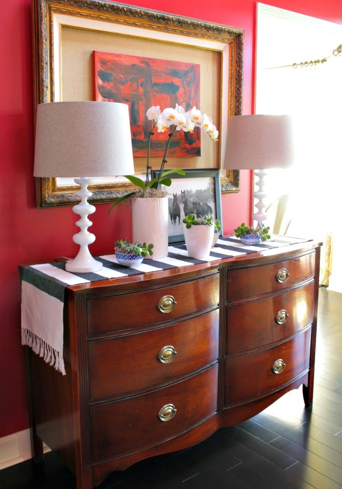 vignette styling ideas - dresser turned console table