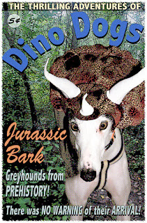 Blue greyhound starring in Dino Dog!