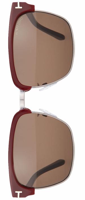 TOM FORD River Dual-Rimmed Sunglasses, Burgundy/Black