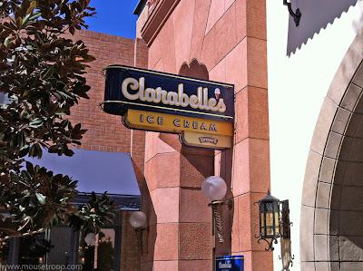 Clarabelle's DCA Ice Cream Disney California Adventure sign
