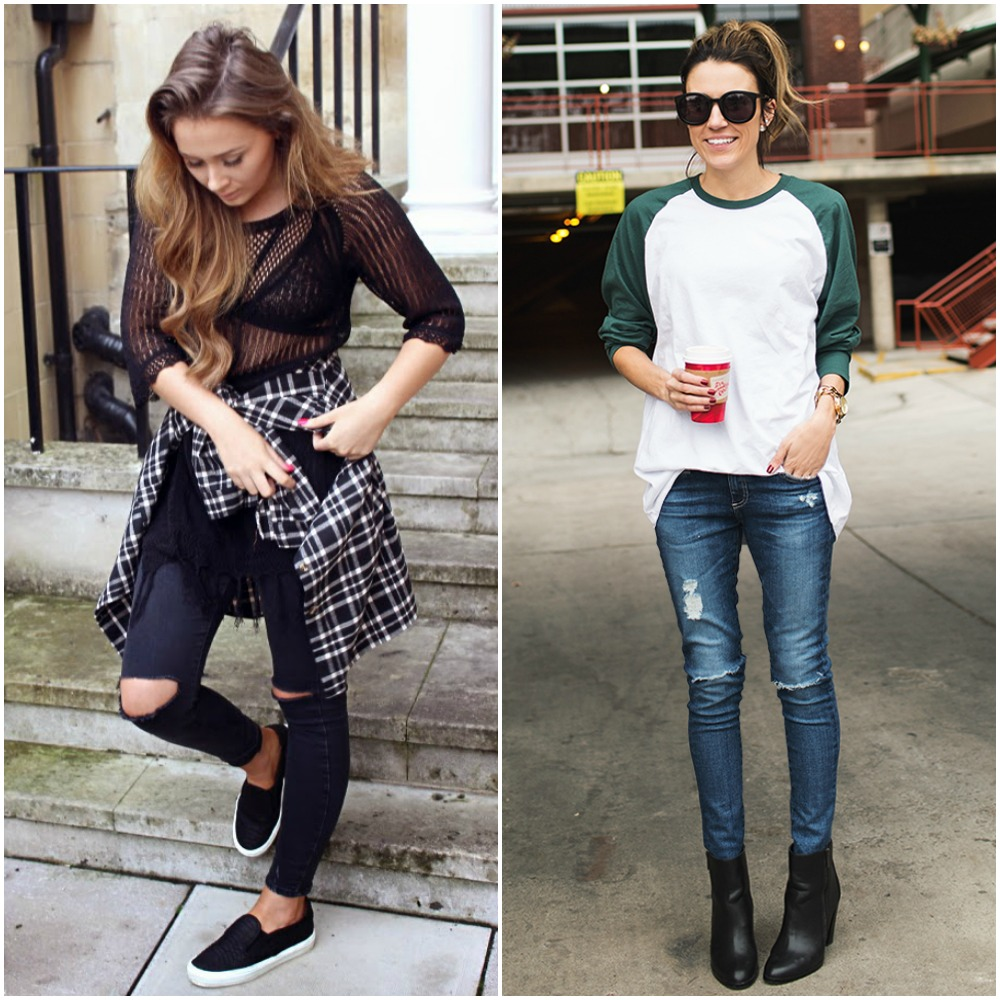 sporty tomboy outfits - street style fashion trends 2014 - checked shirt tied around waist - baseball tee - ripped skinny jeans - slip on sneakers plimsolls